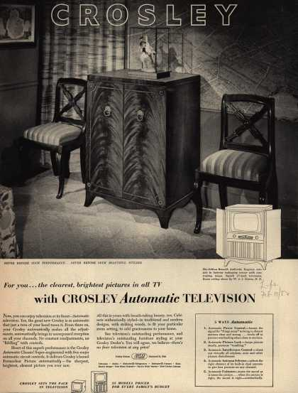 Avco Manufacturing Corporation's Automatic Television – For you... the clearest, brightest pictures in all TV with Crosley Automatic Television (1952)