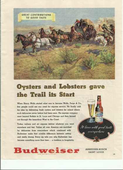 Oysters & Lobsters Budweiser Beer (1948)