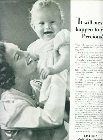 Listerine Checks Halitosis Bad Breath Mom Baby (1939)