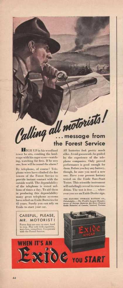 Calling All Motorist Exide Car Battery (1941)
