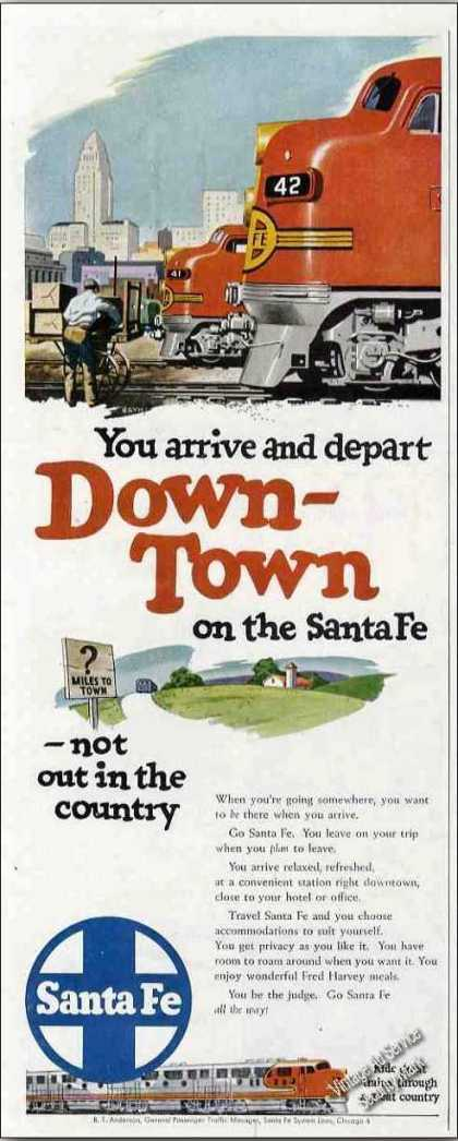 Arrive & Depart Down-town Santa Fe Trains (1950)