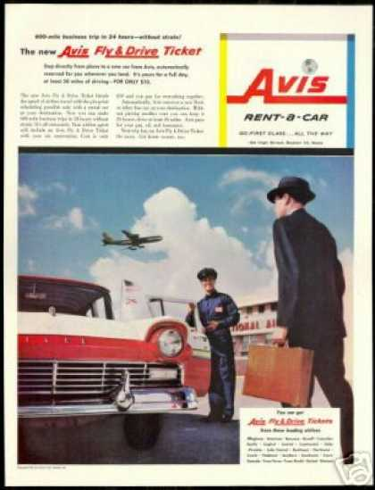 Red White Ford Photo Avis Rent A Car Vintage (1957)