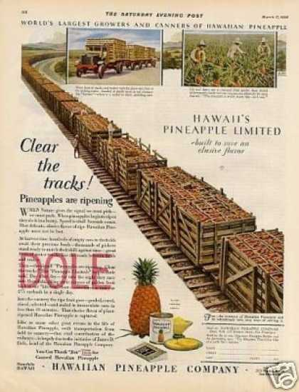 "Dole Pineapple Color Ad ""Clear the Tracks... (1928)"