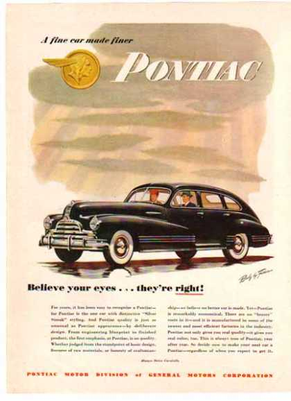 Pontiac Car – Silver Streak Black 4 door – Body by Fisher (1948)