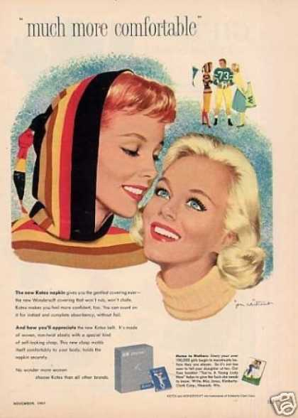 Kotex Sanitary Napkins Ad Whitcomb Art (1957)