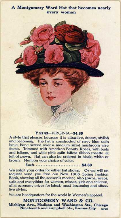 Montgomery Ward & Co.'s Montgomery Hats – A Montgomery hat that becomes nearly every woman (1908)