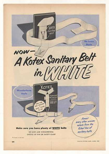 Kotex De Luxe Wonderform Sanitary Belts Trade (1952)