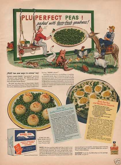 Birds Eye Frozen Peas Print Ad* (1944)