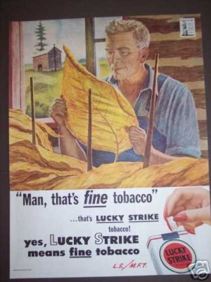 Tobacco Farmer Art Lucky Strike Buy War Bonds (1944)