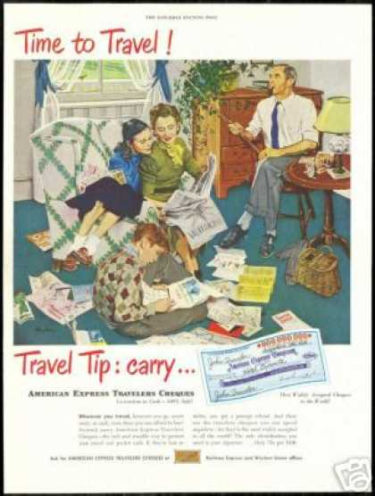Family Vacation Fly Fisherman American Express (1949)