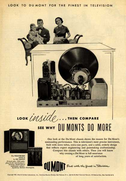 Allen B. DuMont Laboratorie's The DuMont Westbury Series II TV Combination – Look to DuMont for the Finest in Television. Look Inside... Then Compare. See Why DuMonts Do More. (1951)
