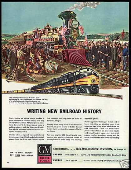 GM Locomotive Train Railroad 1883 Golden Spike (1945)