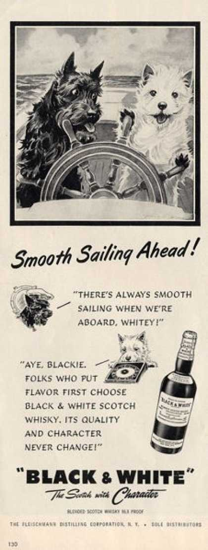 Black & White Scotch Scottish Terrier Sailing Ad T (1953)