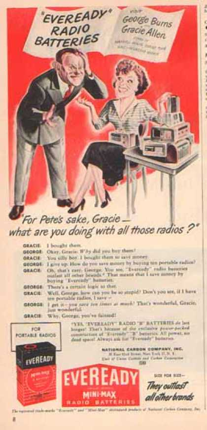 Eveready Batteries – George Burns Gracie Allen (1948)
