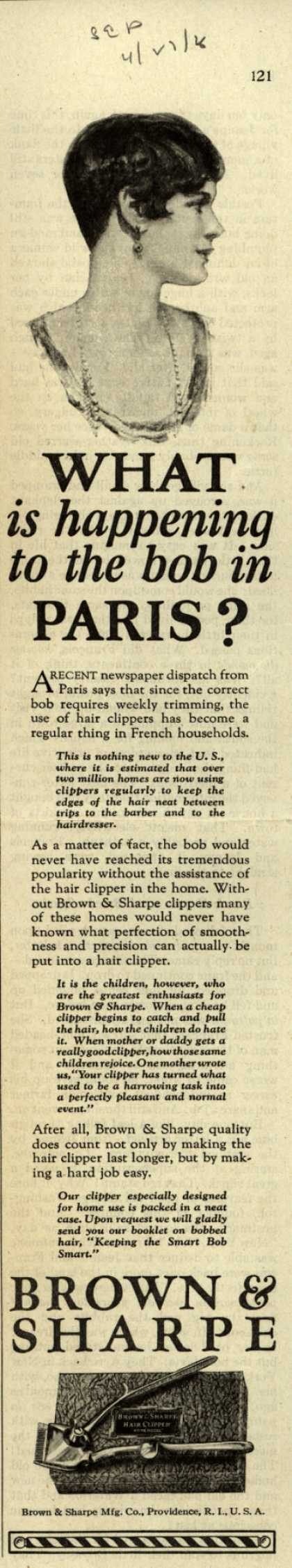 Brown & Sharpe Manufacturing Company's Hair Clippers – What is happening to the bob in Paris? (1926)