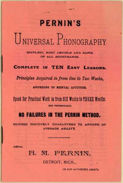 H. M. Pernin's Shorthand Instructions – Pernin's Universal Phonography