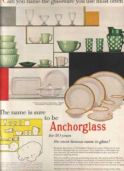 "Anchorglas's ""for 50 years the most famous name in glass!"" (1955)"