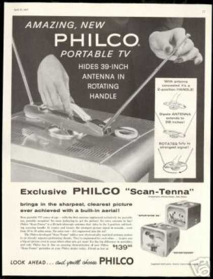Philco Portable TV Hidden Antenna Television (1957)