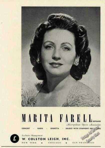 Marita Farell Photo Soprano Opera Trade (1946)
