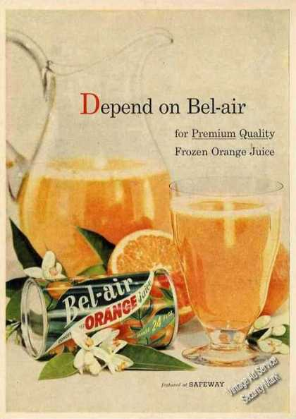 Bel-air Premium Quality Frozen Orange Juice (1956)