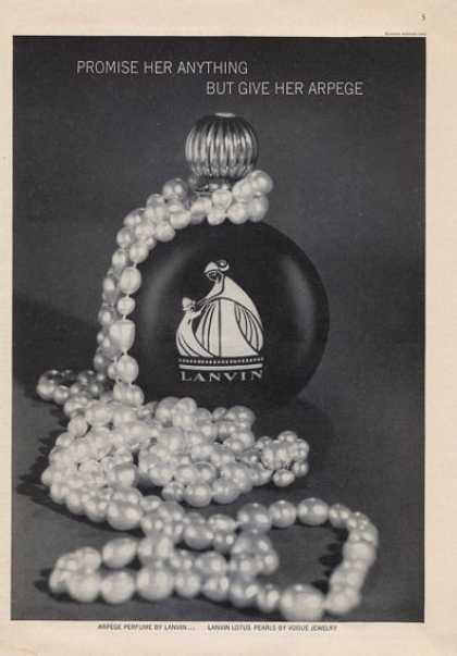 Arpege By Lanvin Perfume Bottle & Pearls (1965)