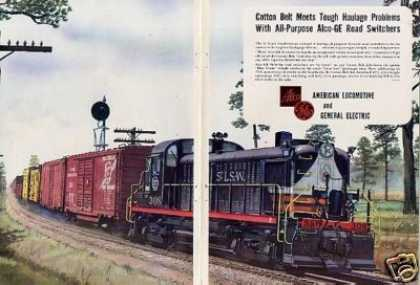 Alco/ge 2 Page Locomotive Ad Cotton Belt Rs-3 (1952)