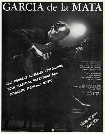 Garcia De La Mata Photo Concert Guitarist Trade (1960)