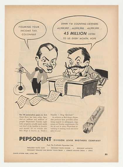 Bob Hope Show art Pepsodent Toothpaste Trade (1948)