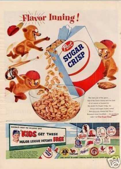 "Post Sugar Crisp Cereal Ad ""Flavor Inning... (1955)"