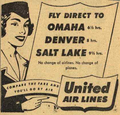 United Air Line's various destinations – Fly Direct To Omaha, Denver, Salt Lake (1953)
