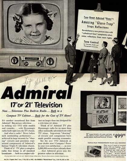 "Admiral Corporation's Television – Admiral 17"" or 21"" Television Now... Television Plus Built-in Radio... Both in a Compact TV Cabinet... Both for the cost of TV Alone (1952)"