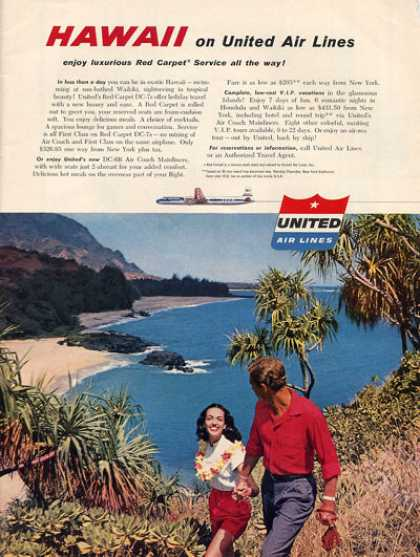United Airlines Hawaii Waikiki Beach (1956)