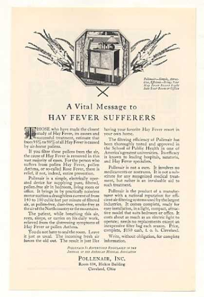 Pollenair Air Cleaner Hay Fever Sufferers (1928)