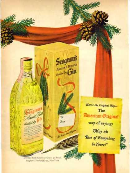 Seagram's Ancient Bottle Gin Christmas (1948)