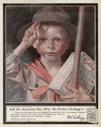 An Advertisement for Kellogg's Cornflakes: an Small American Boy Scout Holds His Box of Cornflakes