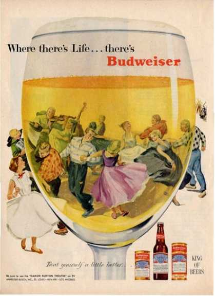 Budweiser Bottle Glass Party Band Ad T (1955)