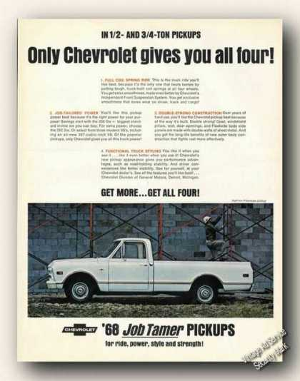 Chevrolet Job Tamer Pickup Trucks Ad Chevy (1968)