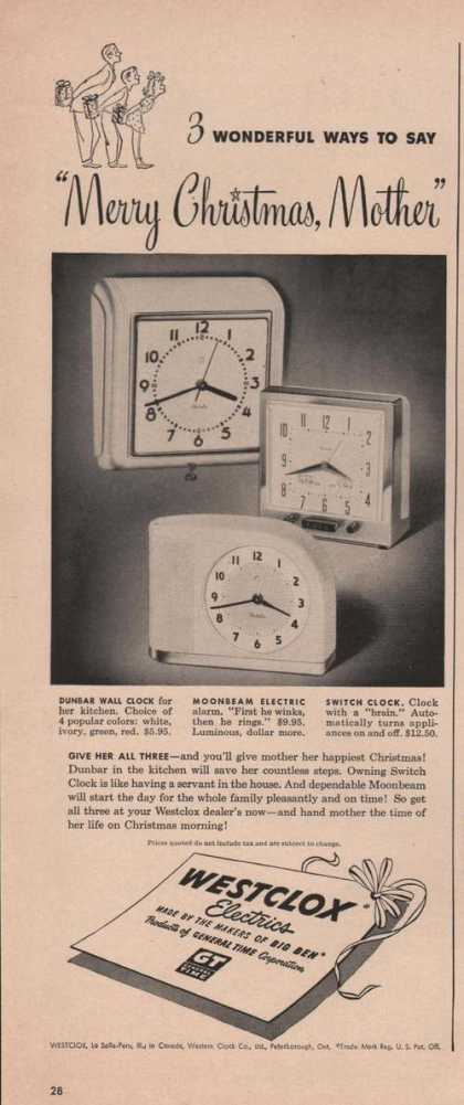 Merry Christmas Westclox Electric Clock (1949)