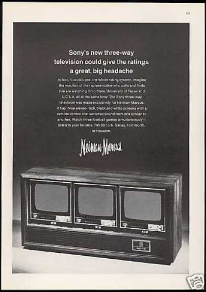 Sony 3 Way TV Television Neiman Marcus (1969)