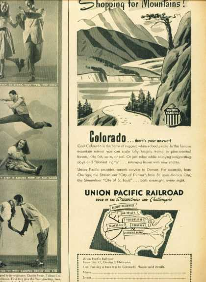 Union Pacific Railroad C 1/2 Page Ad Colorado (1943)