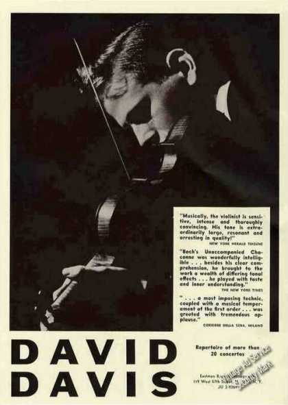 David Davis Photo Violin Collectible Booking (1963)