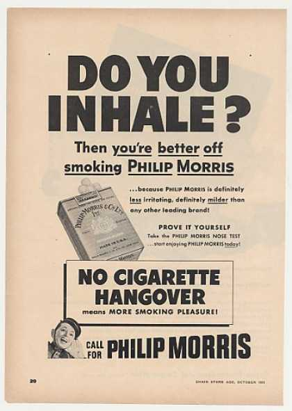 Philip Morris Cigarette Inhale Smoking Trade (1951)