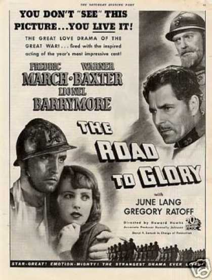 "Movie Ad ""The Road To Glory"" Fredric March (1936)"