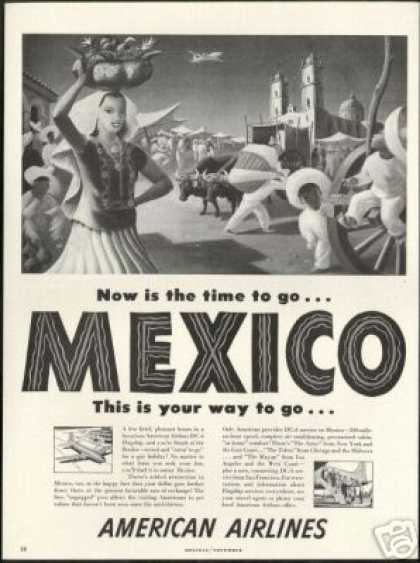 American Airlines DC-6 DC6 Flagship Mexico Art (1948)