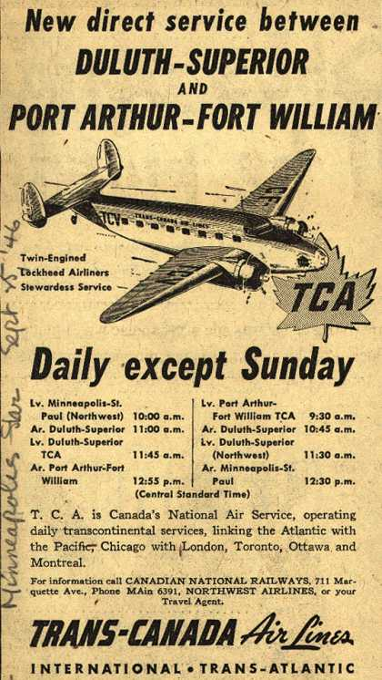 Trans-Canada Air Lines – New direct service between Duluth-Superior and Port Arthur-Fort William (1946)