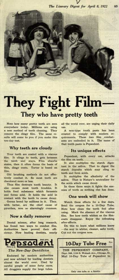 Pepsodent Company's tooth paste – They Fight Film-They who have pretty teeth (1922)