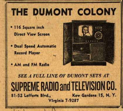 "Allen B. Du Mont Laboratorie's ""Colony"" Television – The Du Mont Colony (1949)"