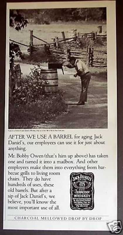 Whiskey Barrel Mailbox Photo Jack Daniel's (1985)