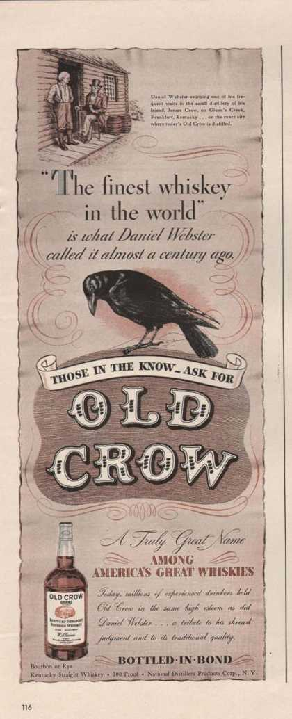 Finest Whiskey In the World Old Crow (1942)