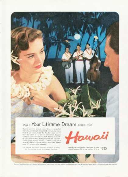 Hawaii Travel Ad Moonlight Ocean Dinner Serenade (1959)